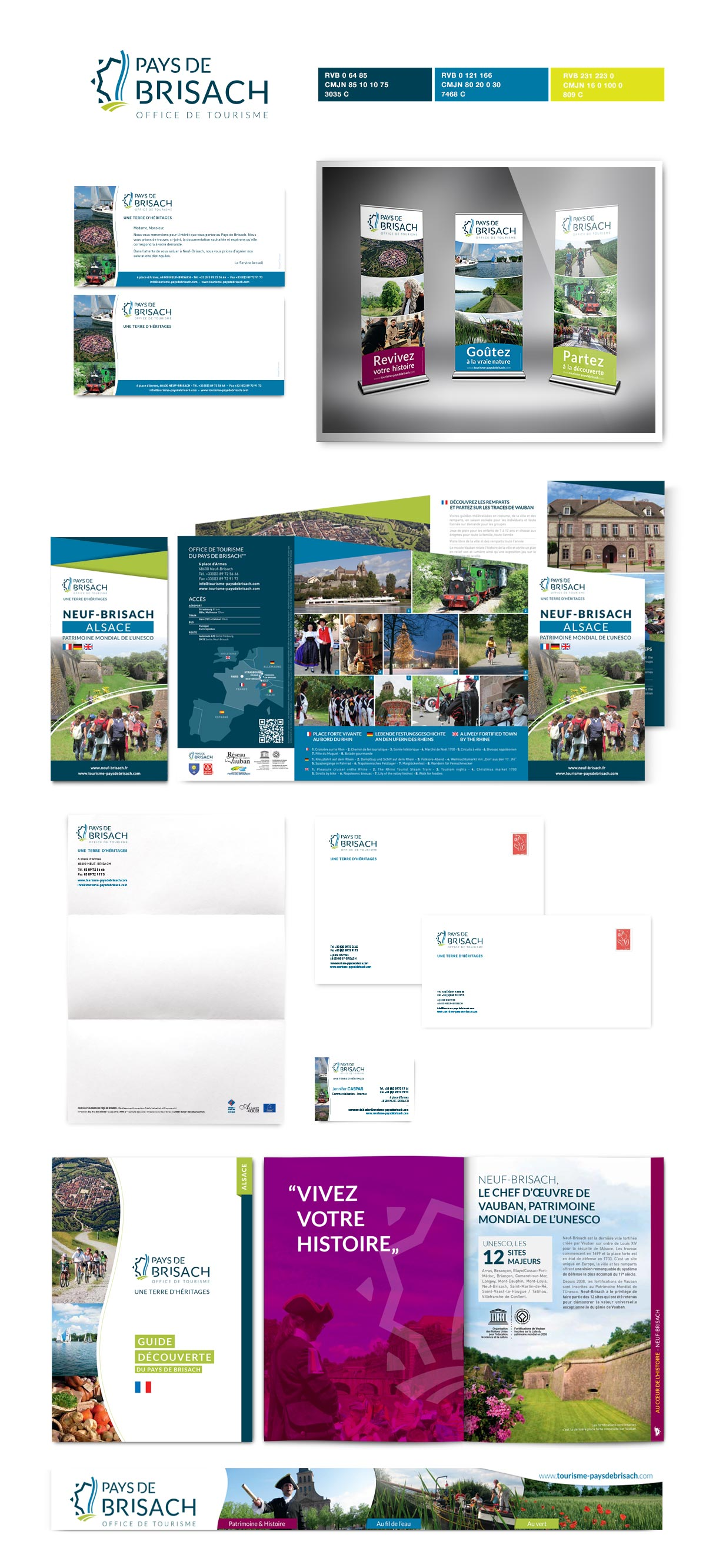 Office de Tourisme Pays de Brisach conception de supports de communication dépliant brochures papêterie - Site vitrine, illustration